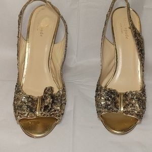 Kate Spade Gold Sequined Slingbacks